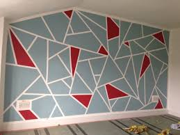 Wall Patterns With Tape Diy Geometric Feature Wall Frog Tape And Dulux Roasted Red And