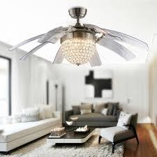 crystal basket modern glam chandelier 8 retractable blades ceiling fan