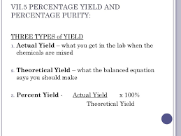 vii 5 percentage yield and percentage purity three types of yield 1