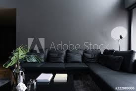 cozy black leather sofa corner in the
