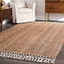 nuloom hand made natural jute and wool blend area rug with fringe in tan for