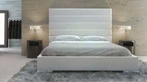 white panel tufted leather reina platform bed  zuri furniture