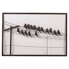 birds on telephone wire wall art