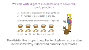 10. Use the distributive property with algebraic expressions to ...