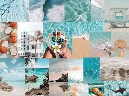Aesthetic light blue digital beach ...