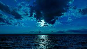 Night Moon Sea Sky Blue 4k, HD Nature ...