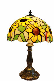Tiffany Table Lamp 12 Inch Sunflower Design Glass Lamp Shade With Zinc Base