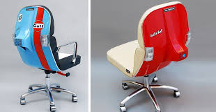 Old office chair Worn Old Vespas Turned Into Modern Office Chairs Bored Panda Old Vespas Turned Into Modern Office Chairs Bored Panda