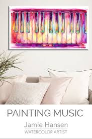 Design Octaves Two Octaves Piano Watercolor Colorful Keyboard Painting By