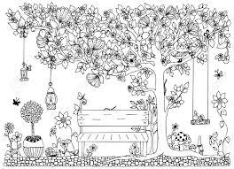 ベクトル図公園庭春 ベンチリンゴの木の花します大人のためのアンチ ストレス黒と白