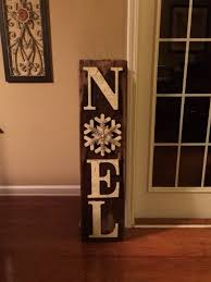 Wooden Noel Sign Using crackle painted letters and snowflake ...