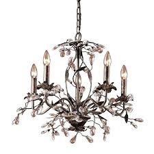 elk lighting deep rust 5 light chandelier pembroke 6