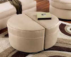 small round ottoman giving extra update in your home decor homesfeed coffee table with 4 storage ottomans beige which can be separated into two parts