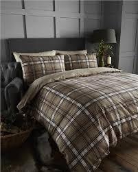 king size bedding brushed cotton flannelette quilt cover brown check duvet set