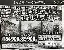 羽田空港発着桜の嵯峨野トロッコ列車と世界遺産姫路城吉野千本桜2