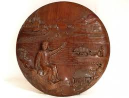 loading zoom on vietnamese wood carving wall art with bas relief sculpture in wood vietnam thanh tri 19th