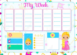 Weekly Timetable Planner Kids Timetable With Cute Princess Weekly Planner For Children