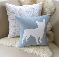 french bulldog pillow cover modern spa blue  warm by vixengoods