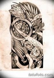 черно белый эскиз тату рукав на руку 11032019 018 Tattoo Sketch