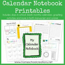 Monthly Calendar Notebook Calendar Notebook Binder Printables