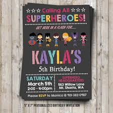Personalized Superhero Birthday Invitations Girl Superhero Birthday Invitation Personalized For Your Party