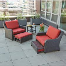 wicker patio furniture. Hampton Bay Sauntera 5-Piece Wicker Patio Seating Set With Red Cushions Furniture