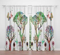 Boho Chic Fenster Vorhänge Funky Forest Lange Etsy