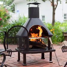 outdoor fireplace w smokestack wood burning backyard bbq cooking fire pit grate
