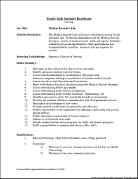Medical Record Clerk Job Description Clerk Job Description Resume Sugarflesh 1