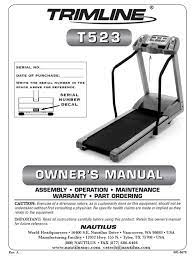 View and download hebb trimline 1600.1 owner's manual online. Nautilus Trimline T523 Owner S Manual Pdf Download Manualslib
