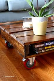 close up of the shelf aspect of my pallet coffee table and the awesome wheels
