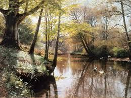 peder mork monsted paintings flodlandskab a river landscape in springtime 1914