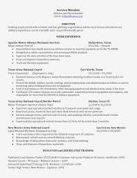 Army Resume Lovely Diesel Mechanic Resume Army Mechanical Engineer