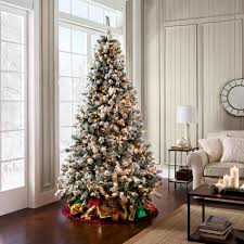 DONNER U0026 BLITZEN 75u0027 Alberta Flocked Spruce Prelit Christmas Pre Lit Spruce Christmas Tree