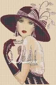 Art Deco Cross Stitch Charts Cross Stitch Chart Art Deco Lady Flapper No 35