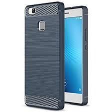 huawei p9 blue. huawei p9 lite case, landee soft tpu shock absorption and carbon fiber design silicone case blue