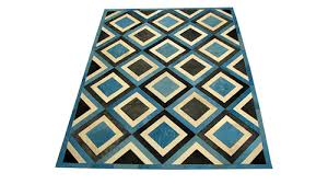 dyed cowhide rug dyed blue white and charcoal d2