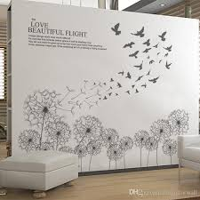 black flying dandelion birds wall decals living room fashion wall poster diy home decoration wall paper  on flight wall art with black flying dandelion birds wall decals living room fashion wall