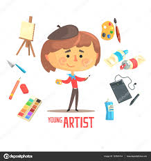 boy artist painter kids future dream professional occupation boy artist painter kids future dream professional occupation illustration related to profession objects smiling child carton character career