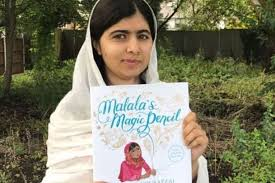 el prize winner malala yousafzai with a copy of her book malala s magic pencil