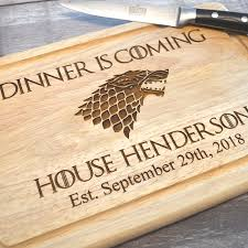 game of thrones personalised dinner is coming wooden chopping board pretty personalised