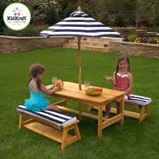 KidKraft Outdoor Table And Bench Set With Cushions And Umbrella 00106