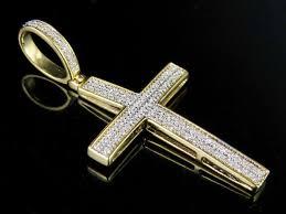 men s 10k yellow gold 2 rows genuine diamond cross pendant charm 1 4 ct 1 5