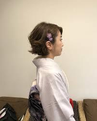 着物に似合う髪型や簡単ヘアアレンジ20選ショートボブミディアム Cuty