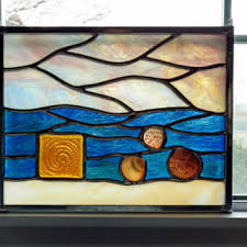 sea life stained glass panel stained glass window suncatc