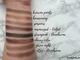 makeup geek collection review swatches emilyloula brownie points homeing sensuous mesmerized steunk cherry cola prom