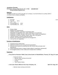 Resume Example Line Cook Chef Fine Dining Examples Skills Obje