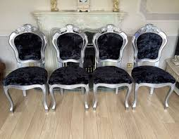 new refurbished silver french louis italian rococo shabby chic black crushed velvet dining chairs