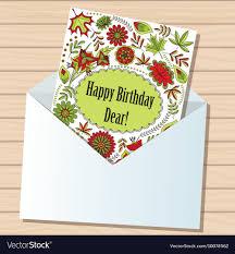 Card Bday Happy Birthday Dear Card In Envelope On Wooden