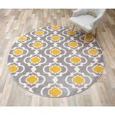moroccan trellis contemporary gray yellow indoor round